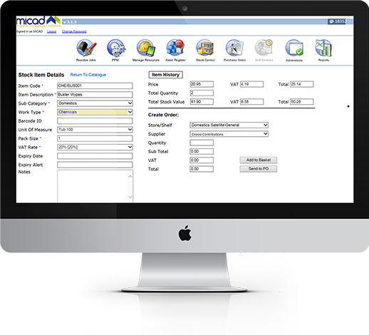 CAFM Software stock control module